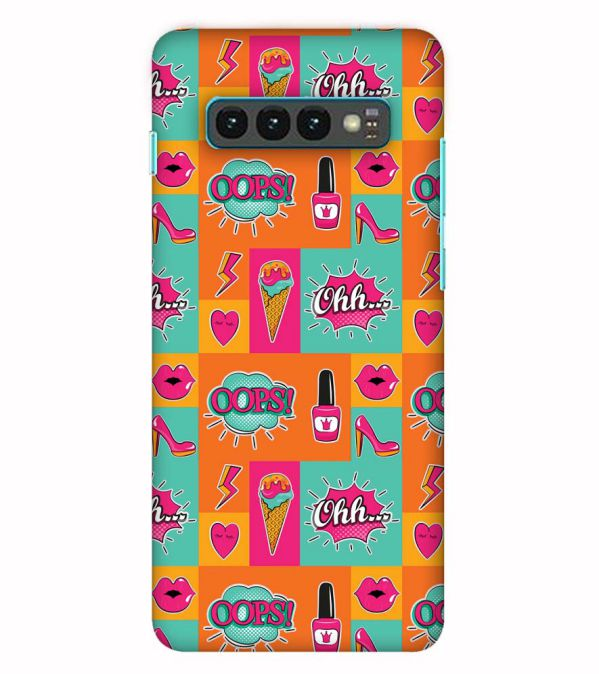 Girlie Lipstick Shoes Pattern Back Cover for Samsung Galaxy S10 (6.1 Inch Screen)