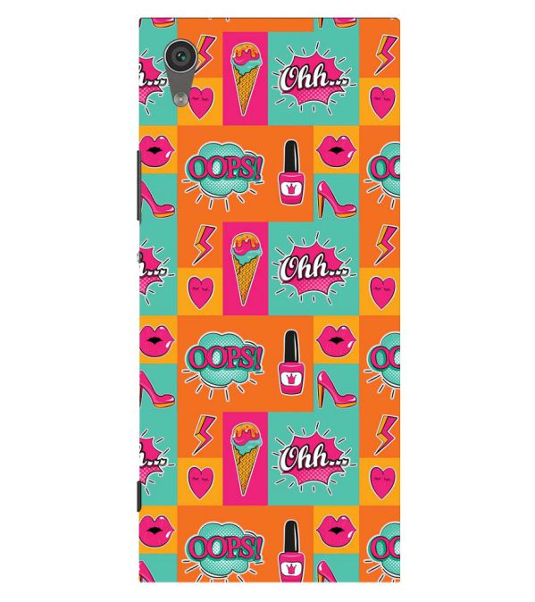 Girlie Lipstick Shoes Pattern Back Cover for Sony Xperia XA1 Plus
