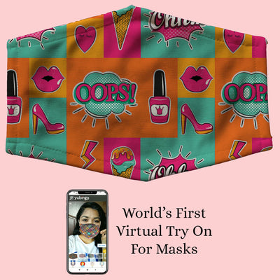 Girlie Lipstick Shoes Pattern Mask