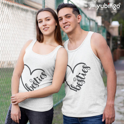 Heart Besties Tank Tops-White