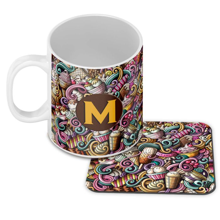 Ice Cream Explosion Customised Alphabet Coffee Mug With Coaster