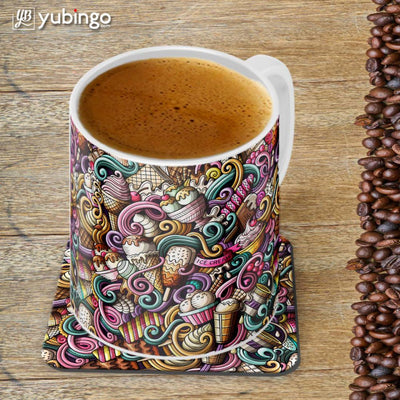Ice Cream Explosion Customised Alphabet Coffee Mug With Coaster-Image4