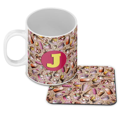 Ice Cream Overload Customised Alphabet Coffee Mug With Coaster