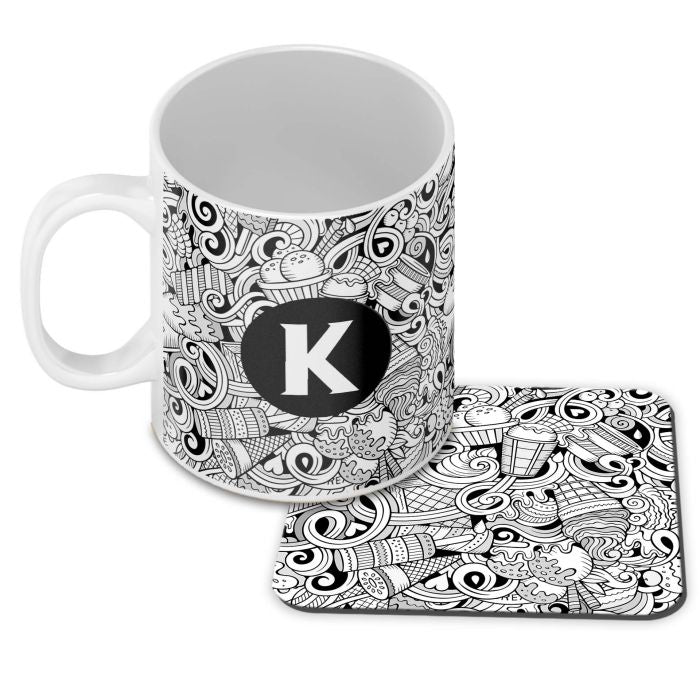 Ice Cream Sketch Customised Alphabet Coffee Mug With Coaster
