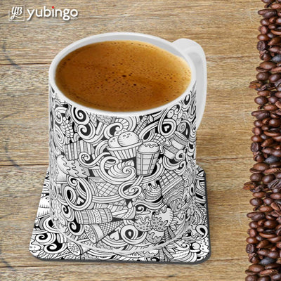 Ice Cream Sketch Customised Alphabet Coffee Mug With Coaster-Image4