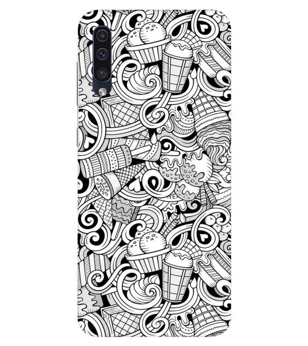 Ice Cream Sketch Back Cover for Samsung Galaxy A50