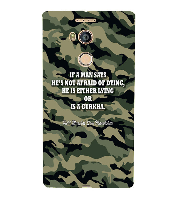 Indian Army Quote Back Cover for Gionee Elife E8