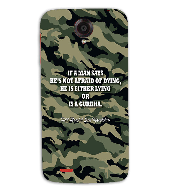 Indian Army Quote Back Cover for Lenovo S820