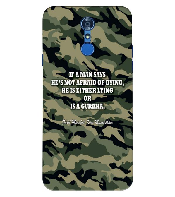 Indian Army Quote Back Cover for LG Q7