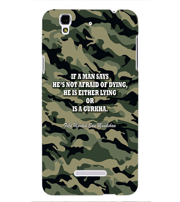 Indian Army Quote Back Cover for Yu Yureka Plus
