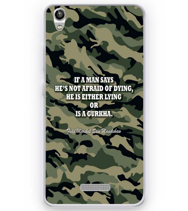 Indian Army Quote Soft Silicone Back Cover for Micromax Canvas Fire Q386
