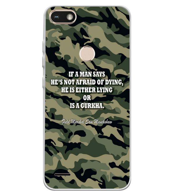 size 40 87757 faa63 Indian Army Quote Soft Silicone Back Cover for Tecno Camon I Sky