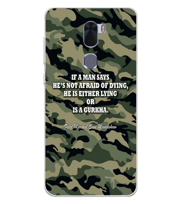 Indian Army Quote Soft Silicone Back Cover for Coolpad Cool 1