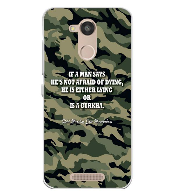 Indian Army Quote Soft Silicone Back Cover for InFocus Turbo 5s