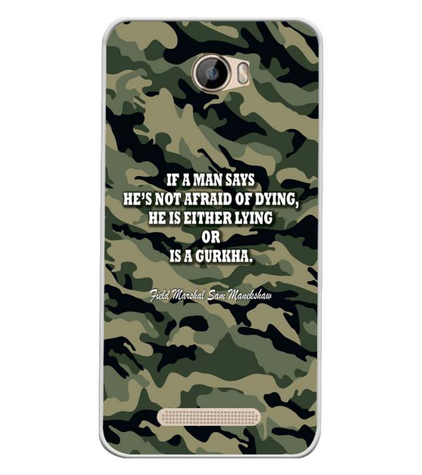 Indian Army Quote Soft Silicone Back Cover for Intex Aqua 5.5 VR