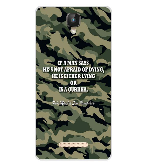Indian Army Quote Soft Silicone Back Cover for Intex Aqua Lions 2 4G