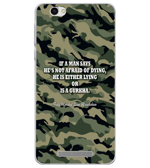Indian Army Quote Soft Silicone Back Cover for Lava X28