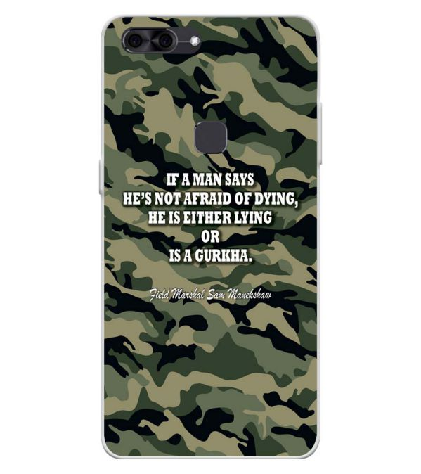 Indian Army Quote Soft Silicone Back Cover for Lava Z90