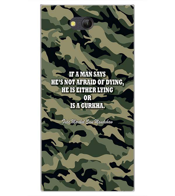 Indian Army Quote Back Cover for LYF Wind 4
