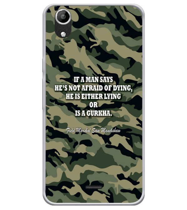 Indian Army Quote Soft Silicone Back Cover for Micromax Selfie Lens Q345