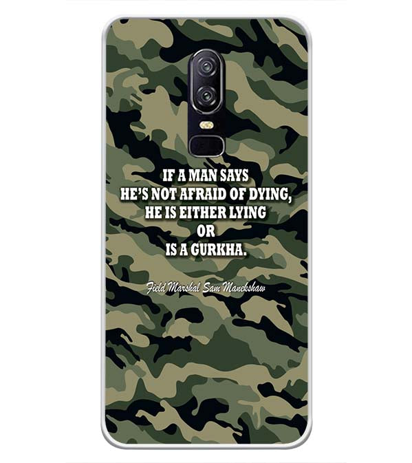 detailed look 3417d 0123b Indian Army Quote Soft Silicone Back Cover for OnePlus 6