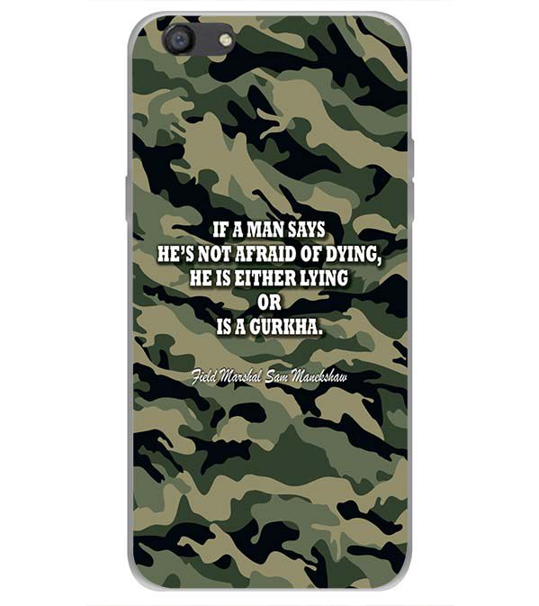 Indian Army Quote Back Cover for Oppo A77