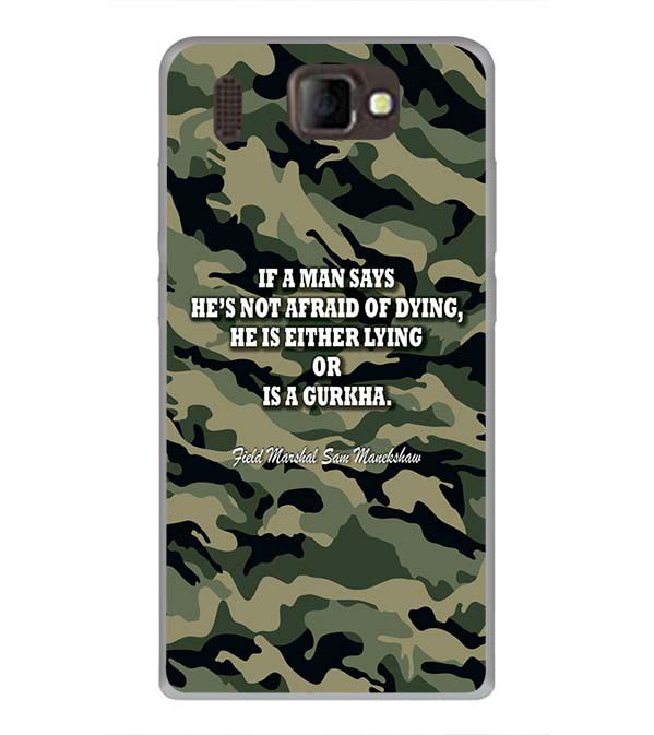 Indian Army Quote Back Cover for Panasonic P66 Mega