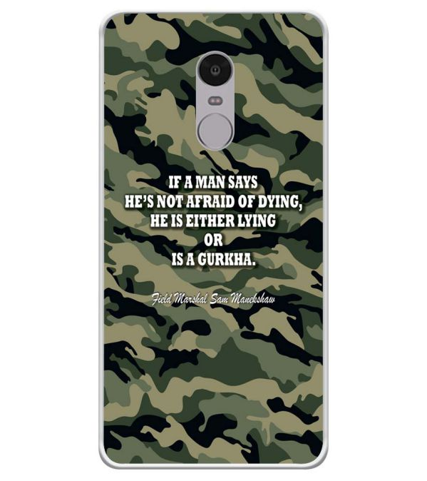 Indian Army Quote Soft Silicone Back Cover for Xiaomi Redmi Note 4