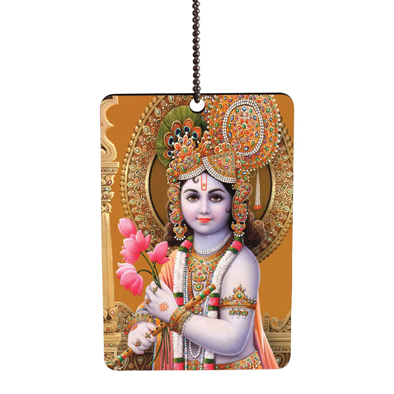Krishna With Flowers Car Hanging