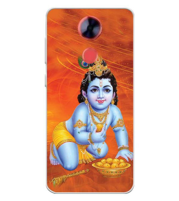 Krishna With Ladoos Soft Silicone Back Cover for Comio X1