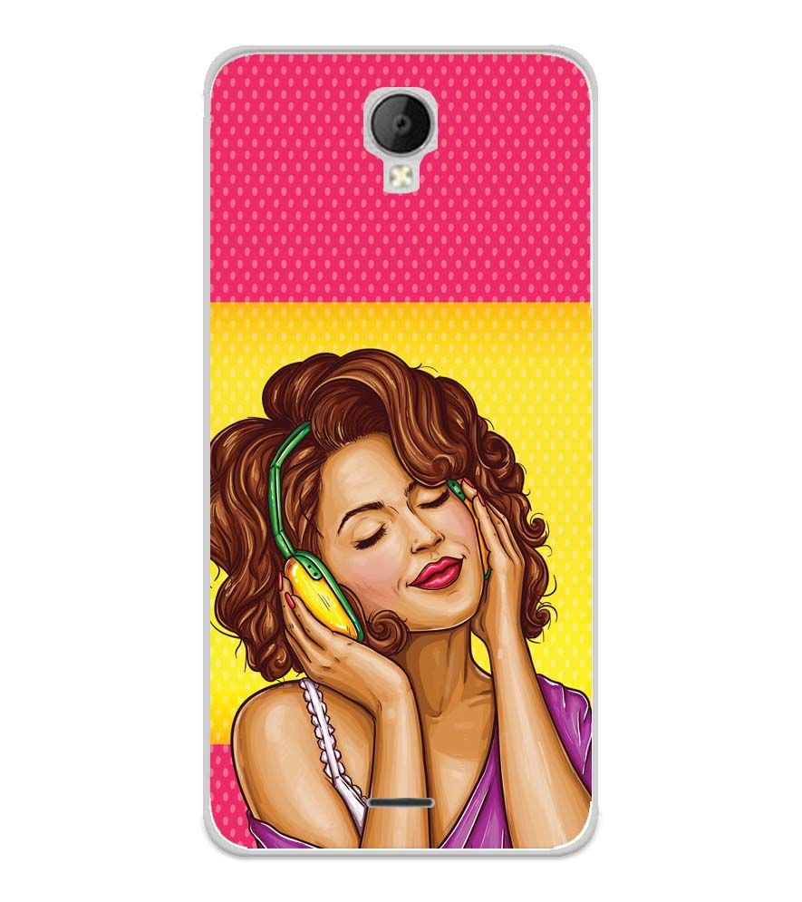 Music Girl Soft Silicone Back Cover for Micromax Spark Go