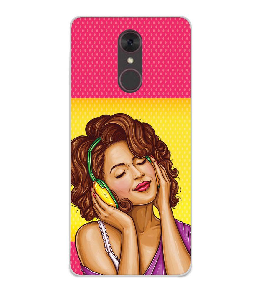 Music Girl Soft Silicone Back Cover for Spice F311