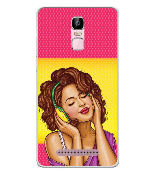 Music Girl Soft Silicone Back Cover for Zen Admire Sense Plus