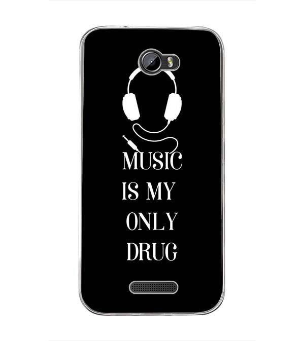 Music Is My Only Drug Back Cover for Intex Lion 3