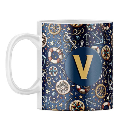 Nautical Blue Customised Alphabet Coffee Mug