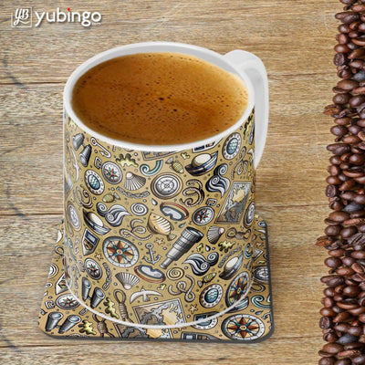 Nautical Brown Customised Alphabet Coffee Mug With Coaster-Image4