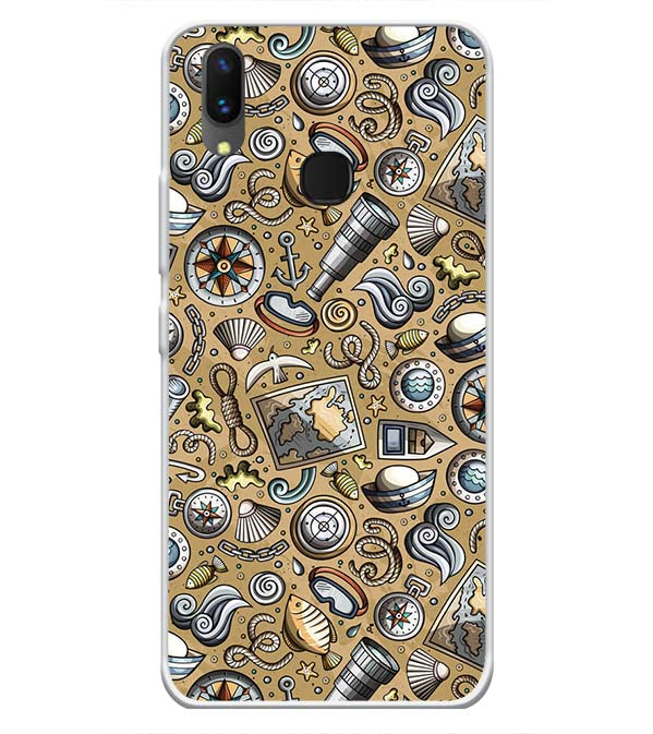 Nautical Brown Soft Silicone Back Cover for Vivo X21