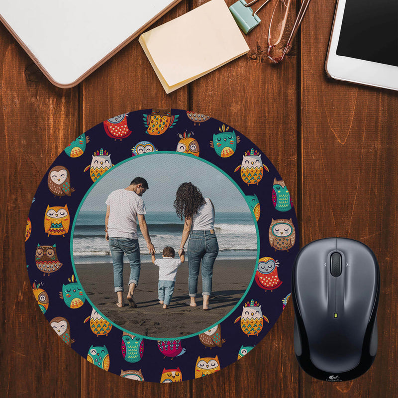 Owly Pattern Photo Mouse Pad (Round)