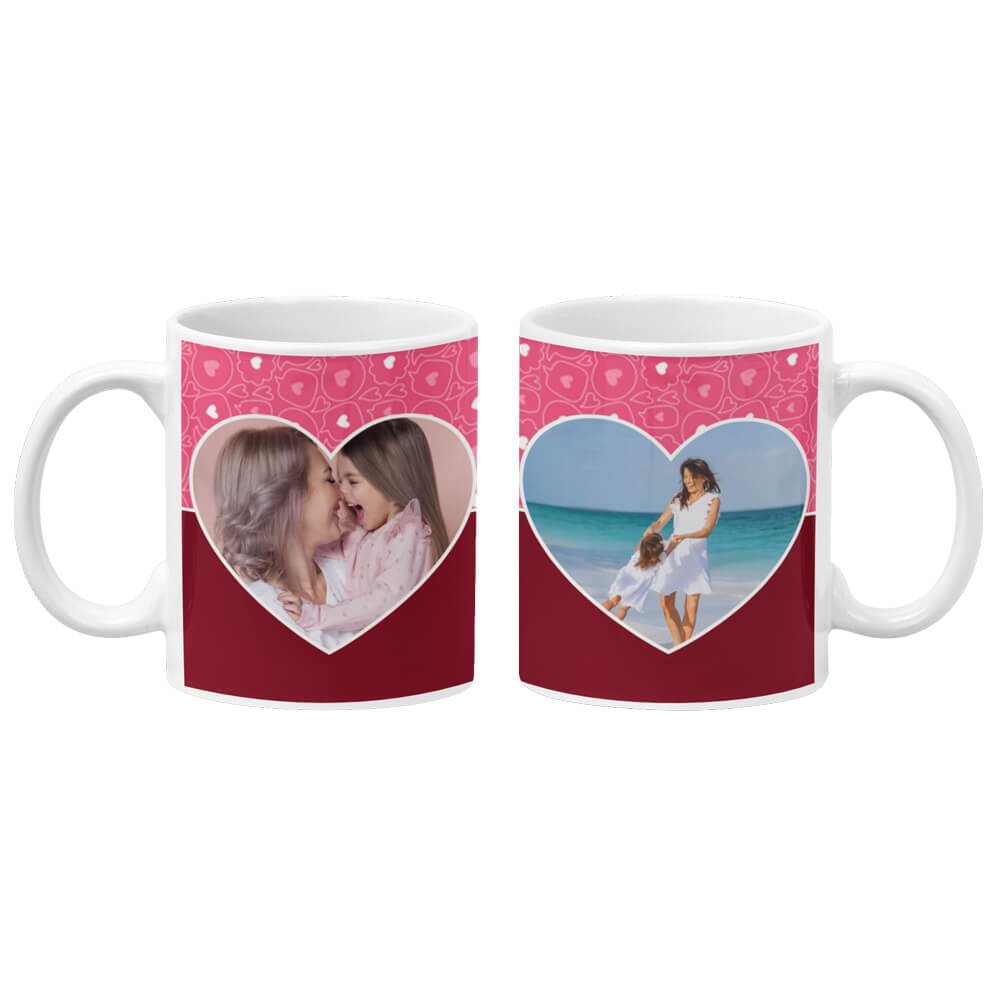 Pink Hearts Photo Coffee Mug