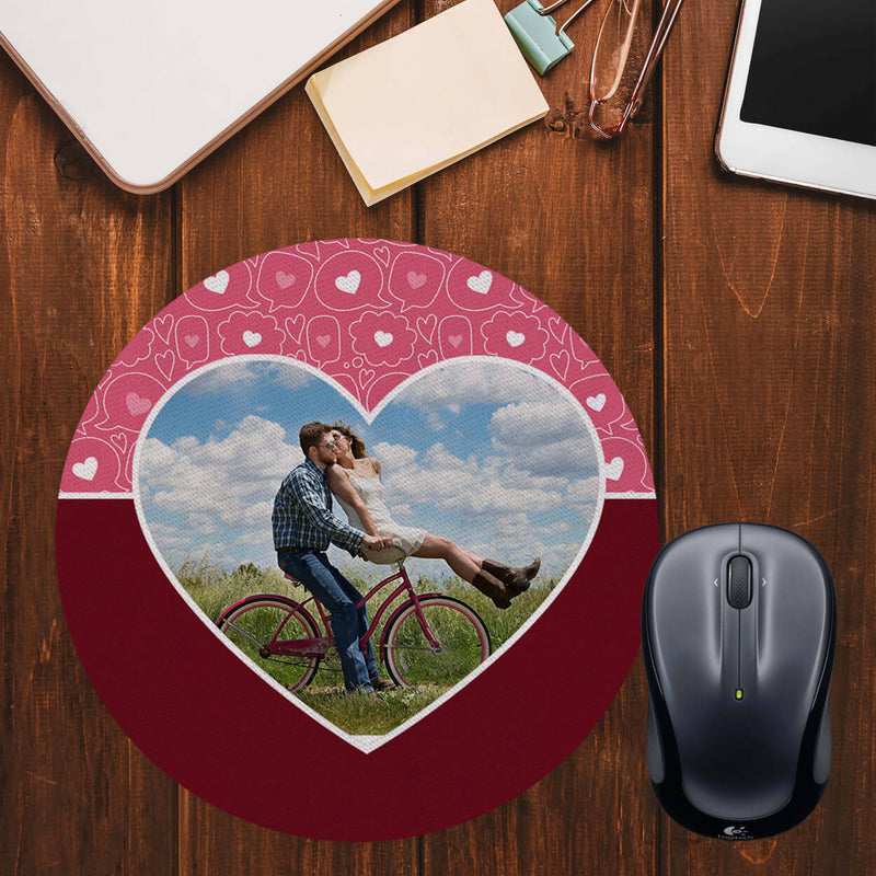 Pink Hearts Photo Mouse Pad (Round)