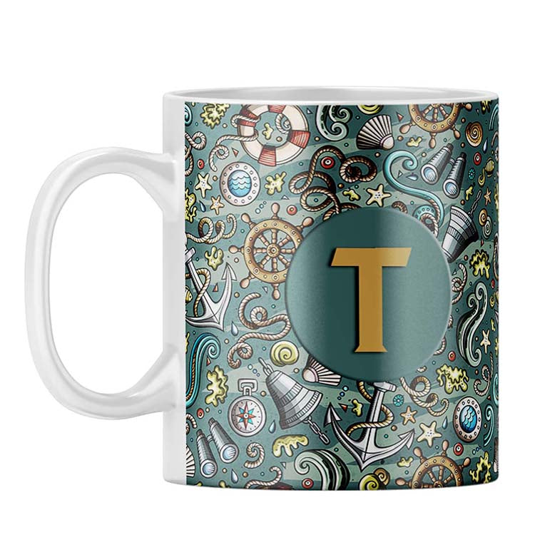 Sea Green Customised Alphabet Coffee Mug
