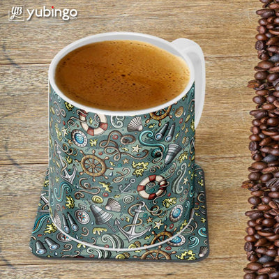 Sea Green Customised Alphabet Coffee Mug With Coaster-Image4