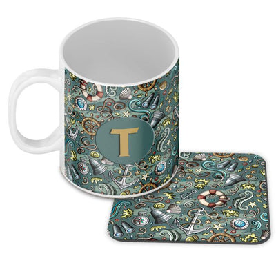 Sea Green Customised Alphabet Coffee Mug With Coaster
