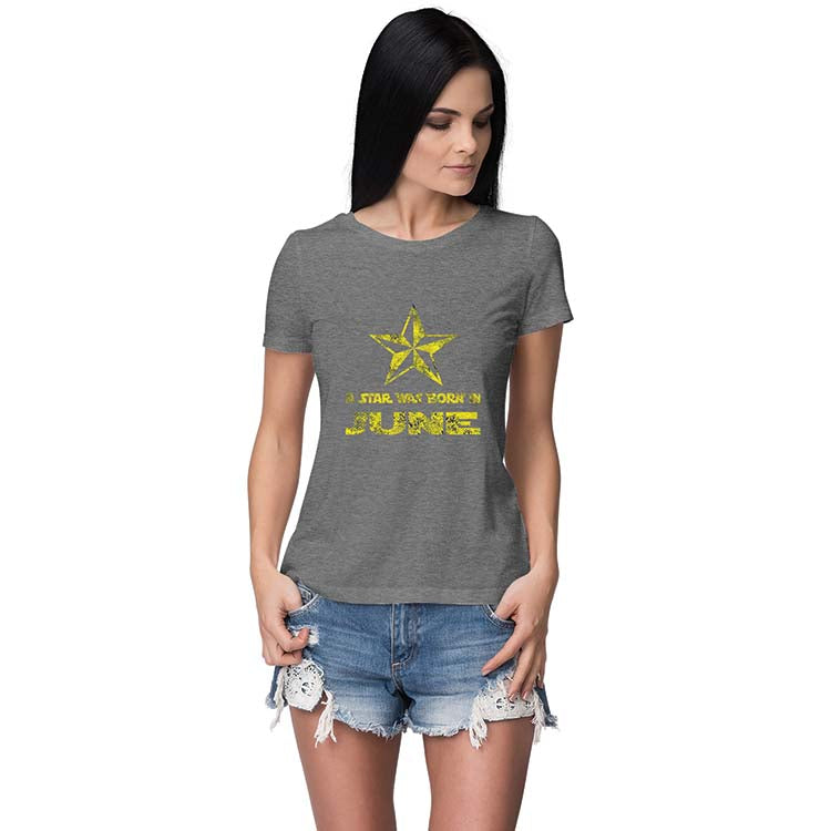 Star Born Customised Month Women T-Shirt-Grey Melange