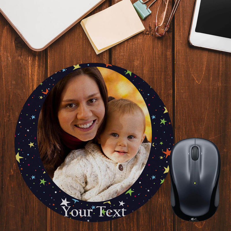 Stars and Photo Mouse Pad (Round)