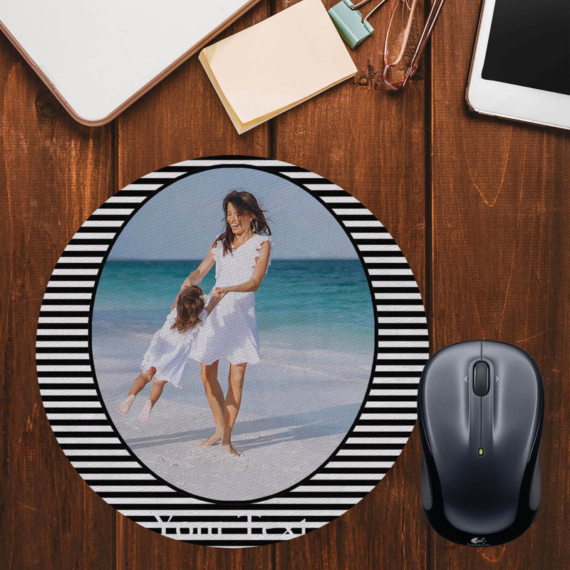 Stripes and Photo Mouse Pad (Round)