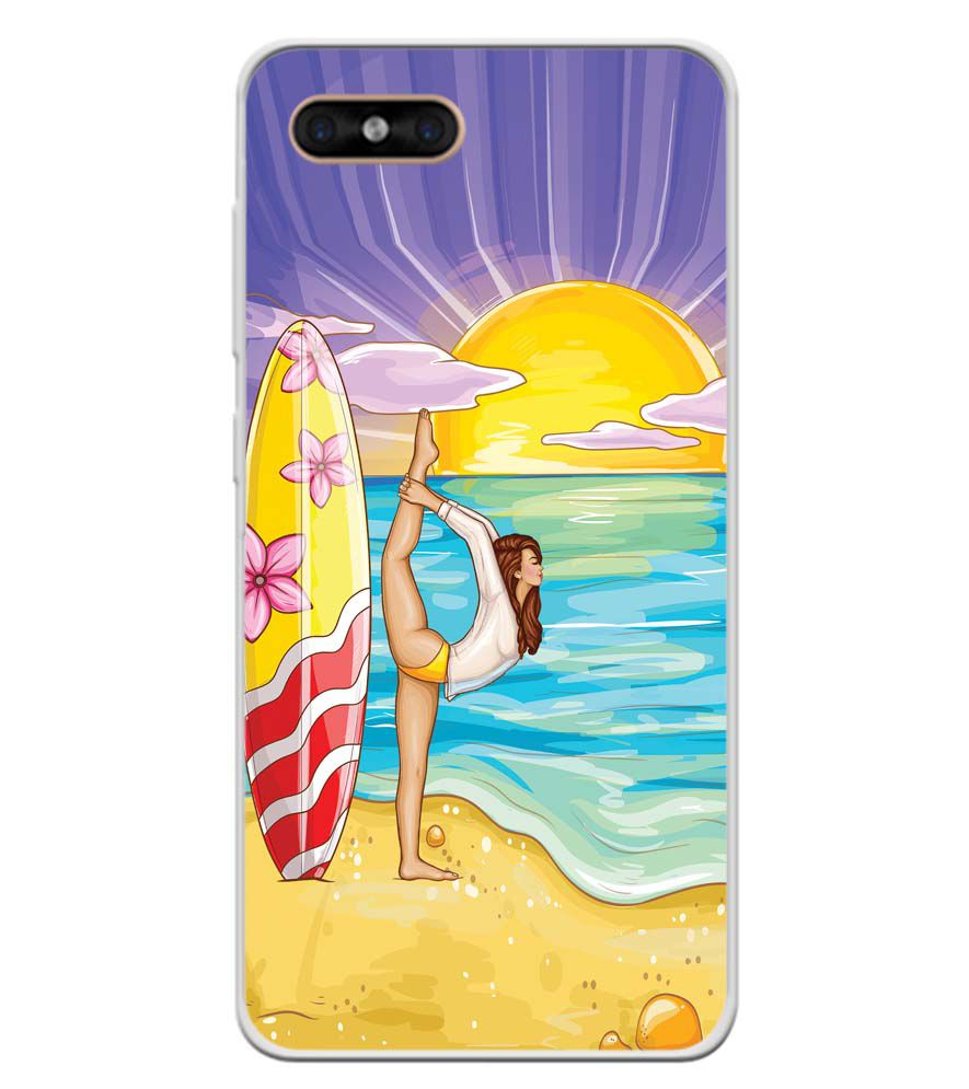 Sunrise with Yoga Soft Silicone Back Cover for Gome C7