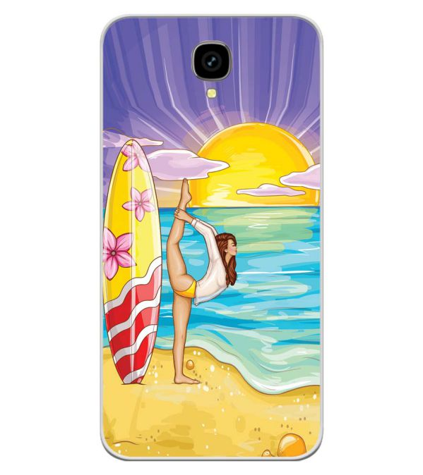 Sunrise with Yoga Soft Silicone Back Cover for Intex Aqua Lions T1 Lite