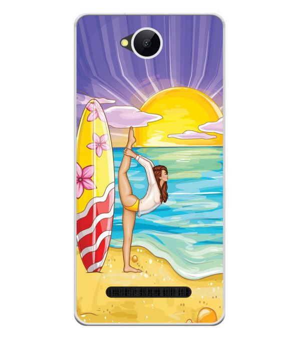 Sunrise with Yoga Soft Silicone Back Cover for Karbonn A45 Indian
