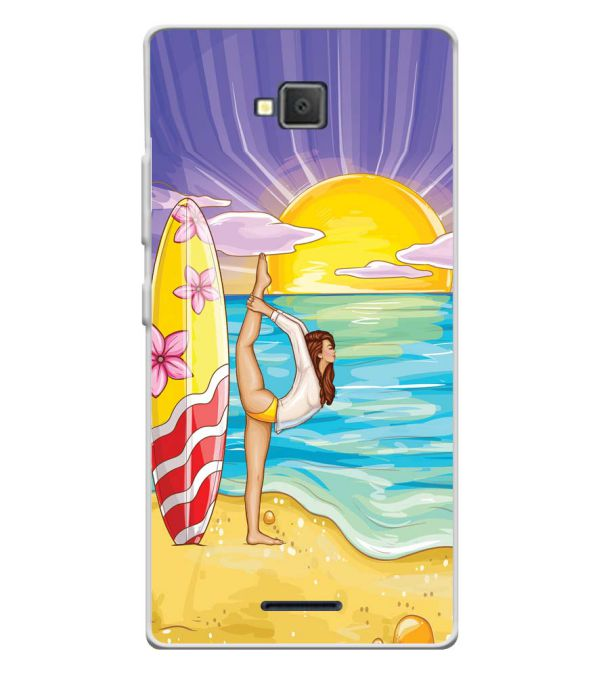 Sunrise with Yoga Soft Silicone Back Cover for Lava A82